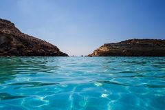 View of the most famous sea place of Lampedusa called Spiaggia dei conigli. View of the most famous sea place of Lampedusa, It is named Spiaggia dei conigli,  in royalty free stock photography