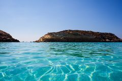 View of the most famous sea place of Lampedusa called Spiaggia dei conigli. View of the most famous sea place of Lampedusa, It is named Spiaggia dei conigli,  in royalty free stock images