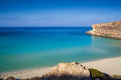 View of the most famous sea place of Lampedusa called Spiaggia dei conigli. View of the most famous sea place of Lampedusa, It is named Spiaggia dei conigli,  in stock images