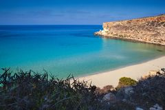View of the most famous sea place of Lampedusa called Spiaggia dei conigli. View of the most famous sea place of Lampedusa, It is named Spiaggia dei conigli,  in stock photo