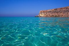 View of the most famous sea place of Lampedusa called Spiaggia dei conigli. View of the most famous sea place of Lampedusa, It is named Spiaggia dei conigli,  in stock photography