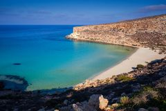 View of the most famous sea place of Lampedusa called Spiaggia dei conigli. View of the most famous sea place of Lampedusa, It is named Spiaggia dei conigli,  in stock photos