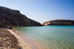 View of the most famous sea place of Lampedusa called Spiaggia dei conigli. View of the most famous sea place of Lampedusa, It is named Spiaggia dei conigli,  in royalty free stock image
