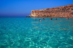 View of the most famous sea place of Lampedusa, Spiaggia dei conigli. LAMPEDUSA, ITALY - AUGUST, 03: View of the most famous sea place of Lampedusa, It is named stock photos