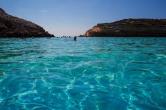 View of the most famous sea place of Lampedusa, Spiaggia dei conigli. LAMPEDUSA, ITALY - AUGUST, 03: View of the most famous sea place of Lampedusa, It is named stock photography