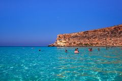 View of the most famous sea place of Lampedusa, Spiaggia dei conigli. LAMPEDUSA, ITALY - AUGUST, 03: View of the most famous sea place of Lampedusa, It is named royalty free stock images