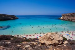 View of the most famous sea place of Lampedusa, Spiaggia dei conigli. LAMPEDUSA, ITALY - AUGUST, 03: View of the most famous sea place of Lampedusa, It is named stock photo