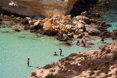 View of the most famous sea place of Lampedusa, Spiaggia dei conigli. LAMPEDUSA, ITALY - AUGUST, 03: View of the most famous sea place of Lampedusa, It is named royalty free stock image