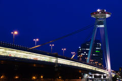 View of Most SNP bridge in Bratislava in night Royalty Free Stock Image