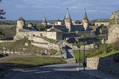View of the Most Zamkowy and Castle of Kamianets-Podilskyi in Western Ukraine Royalty Free Stock Photography