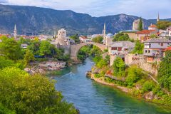 View of Mostar city. And famous bridge royalty free stock photos
