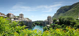 View of Mostar Town and Bridge Stock Images