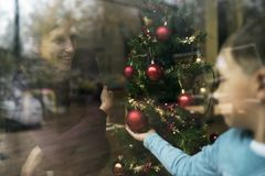 View of a mother and child at Christmas Royalty Free Stock Photography