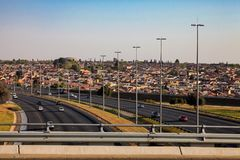 View of a Motorway running through Soweto South Africa. Johannesburg, South Africa, September 11, 2011, View of a Motorway running through Soweto South Africa Royalty Free Stock Photography