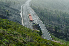 View on motorway from the top of mountains royalty free stock image