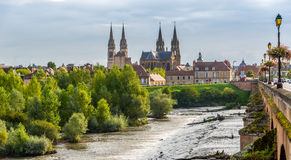 View at the Moulins city. MOULINS, FRANCE - AUGUST 27,2014 - View at the Moulins city. Moulins is located on the banks of the Allier River Royalty Free Stock Image