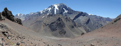 View of mount Aconcagua. On the argentina andes Royalty Free Stock Images