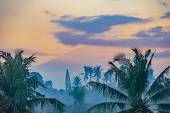 View of Mount Agung at dawn in Bali, Indonesia stock images
