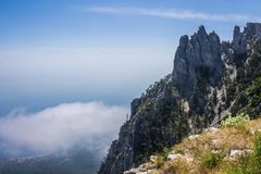 View from Mount Ai-Petri, Crimea. Beautiful nature of Crimea. View on the sea from the mountains stock image