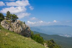 View from Mount Ai-Petri, Crimea. Beautiful nature of Crimea. View on the sea from the mountains stock photos