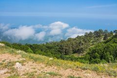 View from Mount Ai-Petri, Crimea. Beautiful nature of Crimea. View on the sea from the mountains royalty free stock photography
