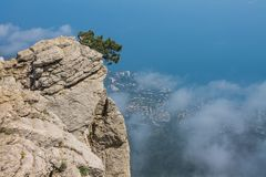 View from Mount Ai-Petri, Crimea. Beautiful nature of Crimea. View on the sea from the mountains royalty free stock photo