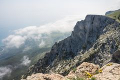 View from Mount Ai-Petri, Crimea. Beautiful nature of Crimea. View on the sea from the mountains stock photo
