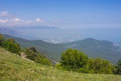 View from Mount Ai-Petri, Crimea. Beautiful nature of Crimea. View from the mountain stock images