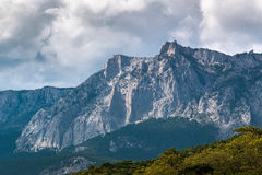 View of Mount Ai-Petri in Crimea. Cloudy day stock photography