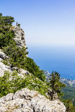 View from Mount Ai-Petri to Yalta and the coast of Crimea Stock Photos