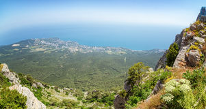 The view from the mount AI-Petri in Yalta and Gaspra, Crimea, black sea coast Stock Image
