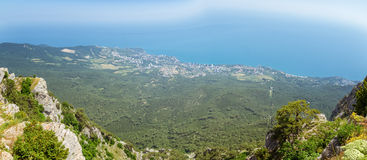 The view from the mount AI-Petri in Yalta and Gaspra, Crimea, black sea coast Royalty Free Stock Images