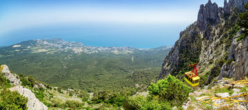 The view from the mount AI-Petri in Yalta and Gaspra, Crimea, black sea coast Stock Images