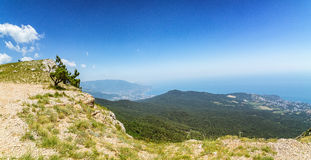 The view from the mount AI-Petri in Yalta and Gaspra, Crimea, black sea coast Royalty Free Stock Image