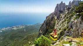 The view from the mount AI-Petri in Yalta and Gaspra, Crimea, black sea coast. Cable car royalty free stock image