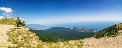 The view from the mount AI-Petri in Yalta and Gaspra, Crimea, black sea coast. Cable car stock photography