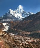 View of mount Ama Dablam and Pangboche village Royalty Free Stock Photo