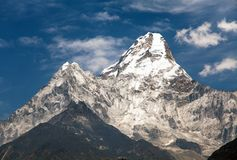 View of mount Ama Dablam on the way to Everest Base Camp Stock Image