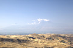 View of Mount Ararat in a haze. Armenia Stock Photos