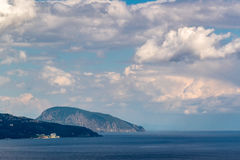 View of Mount Ayu-Dag on the Crimean Black Sea coast. Cloudy sky Royalty Free Stock Image