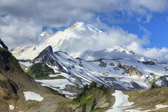 Mount Baker, Washington. View of Mount Baker from the Chain Lakes hiking trail in the Heather Meadows recreation area in northern Washington state Royalty Free Stock Photo