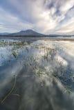 View of mount Batur from lake Batur aka Danau Batur. Royalty Free Stock Images