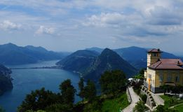 View from Mount Bré to Lake Lugano in South Switzerland stock photo