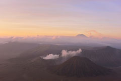 View of Mount Bromo and Batok during Sunrise Stock Photos