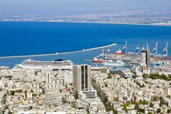 View from Mount Carmel to port and Haifa in Israel stock photography
