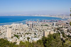 View from Mount Carmel to port and Haifa in Israel Stock Images