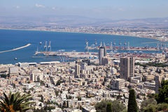 View from Mount Carmel to port and Haifa in Israel. Royalty Free Stock Image