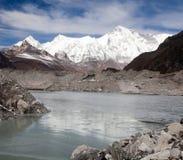 View of mount Cho Oyu and lake on Ngozumba glacier Stock Photo