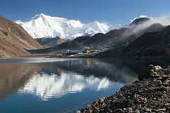 View of mount Cho Oyu mirroring in Gokyo lake Stock Photography