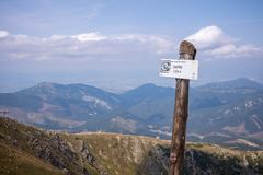 View from Mount Chopok in Sunny Day, ski resort Jasna, Low Tatras National Park in Slovak Republic royalty free stock photo